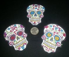 3 Pc Retro Day of Dead Sugar Skulls No Sew Iron On by TDFT on Etsy