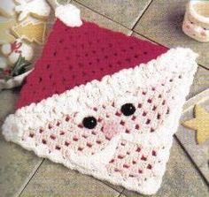 Decorate your home with a Santa Hot Pad this Christmas. This is such a cute Christmas crochet pattern you'll want to make one for all your friends; they would make great holiday gifts too. The shell stitch is used for a nicely textured pattern.