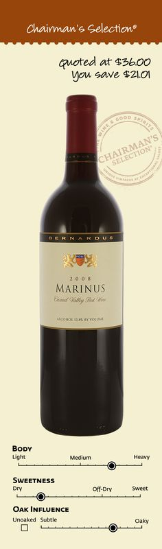 Bernardus Marinus, Carmel Valley, California, 2008: According to the winemaker, the aromas of the 2008 Marinus are classic for a Bordeaux style wine: spicy red fruits with toasty oak notes. The palate is full and rich with similar flavors accented with hints of earth. The finish is supported by fine-grained tannins, which promise excellent ageability in a proper cellar. $14.99