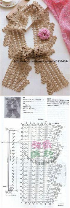 O cachecol de crochê originais.
