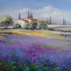 Ute Herrmann | Leuchtender Lavendel - eine Provence Landschaft der deutschen Künstlerin Ute Herrmann |provence lavender painting | www.ute-herrmann-kunstmalerin.de