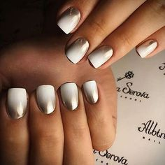 Chrome nails are the latest technology used by all trendy ladies and top nail bar salons. They use some gold/silver and metal nails to make them look gold foil/silver. Chromium nail powder can also be used. Have you tried Chrome Nail Art Designs bef Chrome Nails Designs, Chrome Nail Art, White Chrome Nails, Black Nail, White And Silver Nails, White Summer Nails, Black Ombre Nails, Dark Green Nails, Yellow Nail