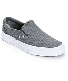 Vans Classic Grey Perforated Leather Slip-On Shoes (Womens)