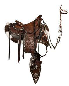 Edward H. Bohlin (1896-1981) Fully Tooled Black and Brown Silver Mounted Parade Saddle