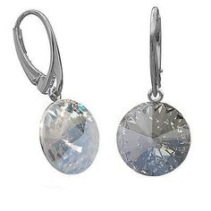 Drop and Dangle Moonlight Clear Blue Sterling Silver Leverback Earrings with Swarovski crystals wnq2ZNRYuX