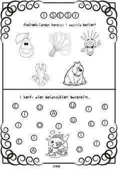 Pin by Burçin Güney on Sesler Kindergarten Coloring Pages, Kindergarten Worksheets, Kindergarten Classroom, Drawing Activities, Preschool Activities, Gymnasium, Letter Recognition, Nursery Rhymes, Pre School