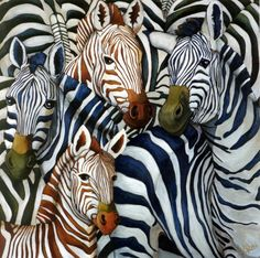 Quadrille de Zebres - Lisa Benoudiz www. Zebra Painting, Zebra Art, Painting & Drawing, Animal Paintings, Animal Drawings, Watercolor Animals, Watercolor Art, Colorful Animals, Wildlife Art