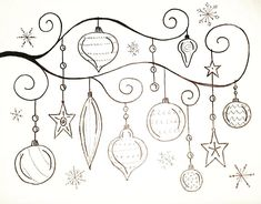 Free Printable Coloring Sheet Whimsical #CHRISTMAS Ornaments Traceable #angelafineart