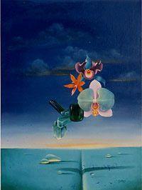 Esmeralda  1985 huile sur toile  © Marcel Pétron - Nouméa, Nouvelle-Calédonie #MarcelPetron #gouttedeau #fleurs