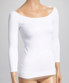Look at this White Seamless Scoop Neck Three-Quarter Sleeve Top - Women on #zulily today!