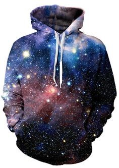 Escape to somewhere crazy and keep warm while you do in our Lush Galaxy Hoodie. We make this hoodie out of 100 percent polyester because this fiber is fade and bleed resistant. Your Lush Galaxy Hoodie