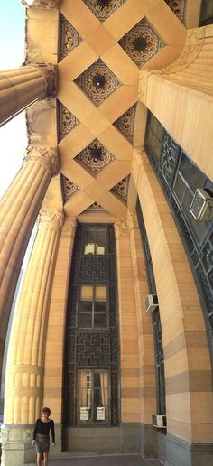 Buffalo City Hall, Buffalo, NY. Vertical panorama of the lovely world under the portico. #artdeco #buffalo #cityhall