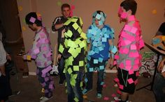 Post It Note game! See if each group can cover a person 100% with Post Its. Then see who can keep the most to stay on. Then see how many they can shake off in a minute.