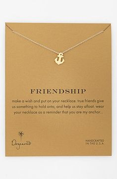 Dogeared 'Reminder - Friendship' Boxed Anchor Pendant Necklace available at #Nordstrom