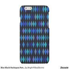 Blue Black Harlequin Pattern Matte iPhone 6 Case