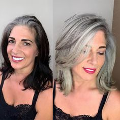 Black colored hair to ashy blonde. This beautiful client came to me from The bay area seeking grey silver color to blend and match her… Black And Grey Hair, Hair Color For Black Hair, Long Grey Hair, Black Box, Green Hair, Grey Hair Before And After, Grey Hair Transformation, Gray Hair Highlights, Grey Hair Inspiration