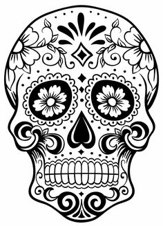 sugar skull tattoo maybe? Skull Coloring Pages, Colouring Pages, Coloring Sheets, Coloring Books, Free Coloring, Sugar Skull Tattoos, Sugar Skull Art, Sugar Skulls, Sugar Skull Meaning