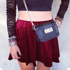 crushed red velvet skirt