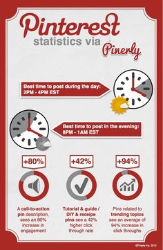 Get more Pinterest followers!  This infographic from Pinerly shows the best times to post on Pinterest.  #pinterest #pinerly