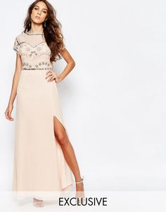 Buy Frock and Frill Embellished Sweetheart Maxi Dress With Thigh Split at ASOS. With free delivery and return options (Ts&Cs apply), online shopping has never been so easy. Get the latest trends with ASOS now. White Beaded Dress, Pink Chiffon Dress, Drape Maxi Dress, White Embroidered Dress, Frock And Frill, Pink Maxi, White Chiffon, Pink Dress, Maxi Bridesmaid Dresses