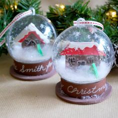 DIY Snow globe ornament using snap-together clear acrylic ornaments