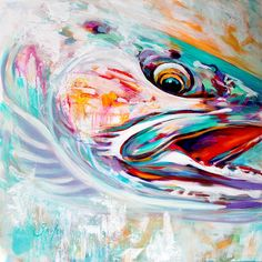 Steelhead Original Artwork. A colorful abstract Steelhead painting by contemporary Fine artist Savlen.