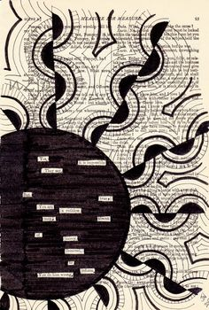 found poetry (blackout poetry) & zentangle Blackout Poetry, Book Page Art, Old Book Pages, Found Poem, Poesia Visual, Teaching Poetry, Poetry Art, Poetry Quotes, Quotes Quotes