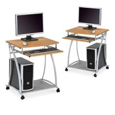 """2 Small Rolling Computer Desks with Metal Frame - Perfect for Laptops and Desktops - Compact for RVs and Boats! by The Furniture Cove. $195.87. Easy To Move! It's On Wheels!. Sturdy Metal Frame. 24"""" Wide x 20"""" Front-Back x 29"""" Tall. Wood Desktop and Slide-Out Wood Keyboard Shelf. Easy To Assemble!. Sleek modern computer desks with caster wheels for ease of movement. Steel frame with maple veneer desktop and slide-out keyboard shelf. Sturdy shelf for computer chassis w..."""