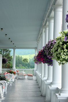 Mt. Washington Hotel porch... in the White Mountains, NH...looks peaceful and beautiful...would love to sit here a while!