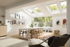 Fill your home with light by installing a Velux or Fakro roof window. Bungalow Extensions, Garden Room Extensions, House Extensions, Kitchen Extensions, Kitchen Diner Extension, Kitchen Extension Velux Windows, Roof Window, Living Spaces, Living Room