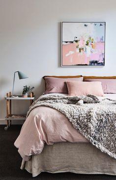 Pink bedroom decor blush bedding bedding idea bedroom home decor home decor pink and grey bedroom . Cozy Bedroom, Dream Bedroom, Home Decor Bedroom, Master Bedroom, Bedroom Ideas, Bedroom Modern, Light Gray Bedroom, Copper Bedroom, Blush Bedroom