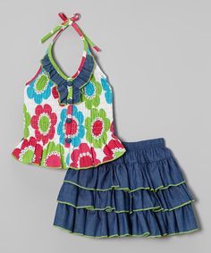 Take a look at this Green Retro Floral Halter Top & Denim Skirt - Toddler & Girls today!
