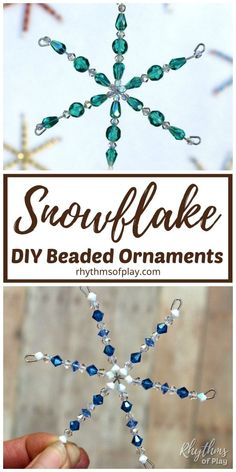 Beaded Snowflake Ornaments DIY - This snowflake craft is a simple handmade ornament that kids and adults can learn how to make with our step by step video tutorial. Homemade beaded snowflakes look gorgeous on the Christmas tree. Homemade Christmas Crafts, Homemade Ornaments, Xmas Crafts, Christmas Diy, Diy Ornaments, Diy Crafts, Ornaments Image, Simple Crafts, Christmas Crafts To Sell Handmade Gifts