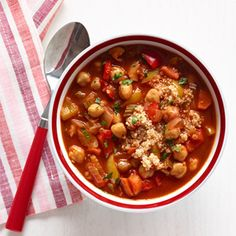 Chickpea and Red Pepper Soup with Quinoa Recipe:::: this was tried plain, with hot sauce, and with garam masala.  All were good.  Very flexible recipe.  Adding cheddar was delicious!
