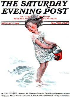 Little Girl With Bucket At Beach by Sarah Stilwell Weber, Aug. 1, 1914, The Saturday Evening Post.