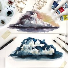 Painting some watercolor clouds using different techniques. Watercolor Clouds, Watercolor Art Diy, Watercolor Paintings, Watercolors, Watercolor Techniques, Art Techniques, Galaxy A5, Clipart, Art Tutorials