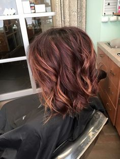 Red violet and copper balayage hair short