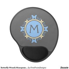Butterfly Wreath Monogram Blue Yellow Gray Gel Mouse Pad