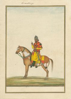 British; Skinner's Horse, Sowar, c1830, artist may have been Ghulam Ali Khan, as an illustration for Col. James Skinner's manual for Indian Cavalry.