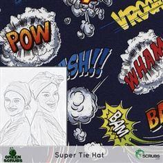 Limited Edition: Green Scrubs - The Original Super Tie Hat - Super Hero Words