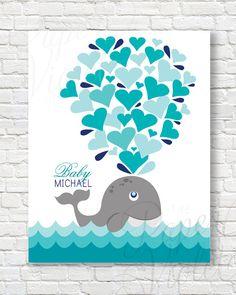 Beautiful Digital Guest Book Alternative For Baby Shower! { Whale Guestbook  Alternative } Great For A