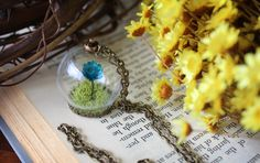 Globe Necklace Terrarium Necklace Dried Flower by TheRosyLark