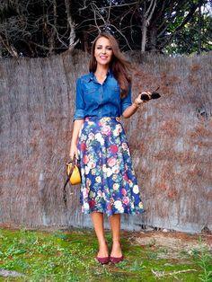 Paula Echevarría se apunta a la tendencia de las faldas midi en su blog de la revista Elle