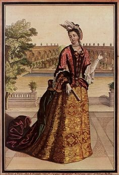 Comtesse de Mailly, 1698, wears court fashion: Her mantua has elbow-length cuffed sleeves over the lace-ruffled sleeves of her chemise. The trained skirt is looped back to reveal a petticoat. She wears elbow-length gloves and a cap with a high lace fontange. She has a fur muff on her right wrist, trimmed with a ribbon bow, and carries a fan. She wears the short string of pearls that remained fashionable throughout this period.