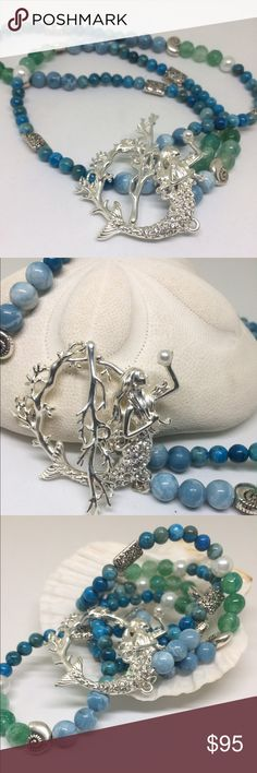 "🆕💕Beautiful new Mermaid Pendant Necklace Silver Tone Pendant Necklace surrounded by pearls,Cracked Jasper,Chrysocolla and  Chalcedony with cute silver tone beads HANDCRAFTED NWOT 30"" long plus pendant piece handcrafted Jewelry Necklaces"