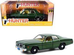 "1977 Dodge Monaco Green Metallic (Rick Hunter's) ""Hunter"" (1984-1991) TV Series 1/24 Diecast Model Car by Greenlight Rubber Tires, Diecast Model Cars, Car Brands, Monaco, Dodge, Tv Series, Front Doors, Metallic, Green"