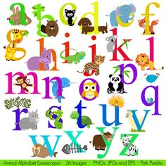 Animal Alphabet, Font with Safari Jungle Zoo Animals, Lowercase - Commercial and Personal Use. $6.00, via Etsy.