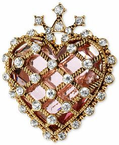 Betsey Johnson Antique Gold-Tone Quilted Crystal Heart Pin