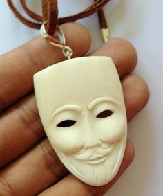 Mask 925 Sterling Silver Bail Cord Necklace Jewelry With Soul TT0231 UA096 #JewelrywithSoul #PendantNecklace