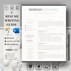 Professional CV Design & Matching Cover Letter. US Letter & A4 Size Resume, Modern Resume Template for Word and Pages | Eirify Cover Letter Format, Cover Letter For Resume, Cover Letter Template, Modern Resume Template, Creative Resume Templates, Cv Template, Project Manager Resume, Resume Layout, Resume Writing Tips